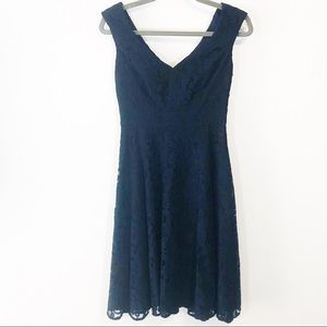 Eliza J navy lace overlay fit and flare dress sz 0